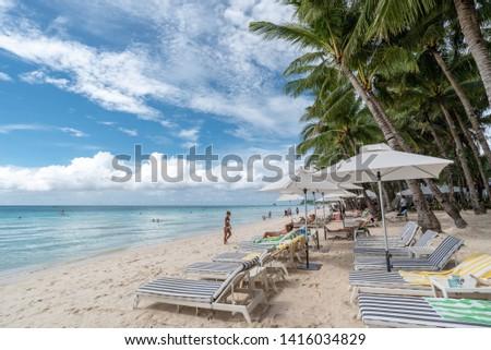Boracay, Philippines December 16, 2016 woman in a beach scene   #1416034829