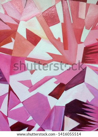 Abstract polygonal diamond oil painting background, raster illustration