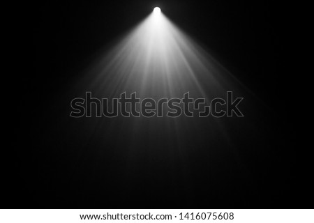 top projector spotlight on smoke . industrial about lighting machine brighten concept at dark map . Royalty-Free Stock Photo #1416075608