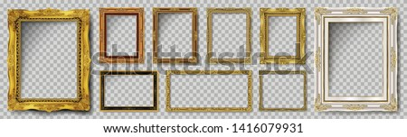 Set of Decorative vintage frames and borders set,Gold photo frame with corner Thailand line floral for picture, Vector design decoration pattern style. border design is pattern Thai art style #1416079931
