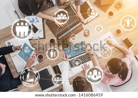 Human Resources Recruitment and People Networking Concept. Modern graphic interface showing professional employee hiring and headhunter seeking interview candidate for future manpower. #1416086459