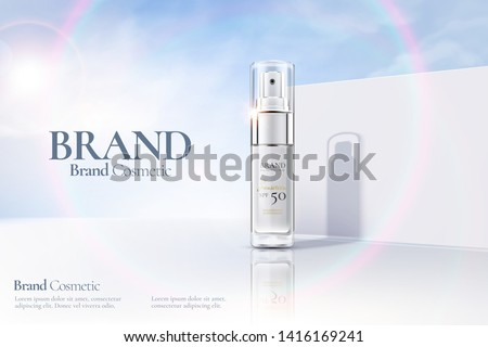 Cosmetic spray bottle ads on white clear wall background with sunbeam in 3d illustration #1416169241