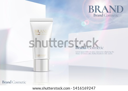 Cosmetic tube ads on white clear wall background with sunbeam in 3d illustration #1416169247