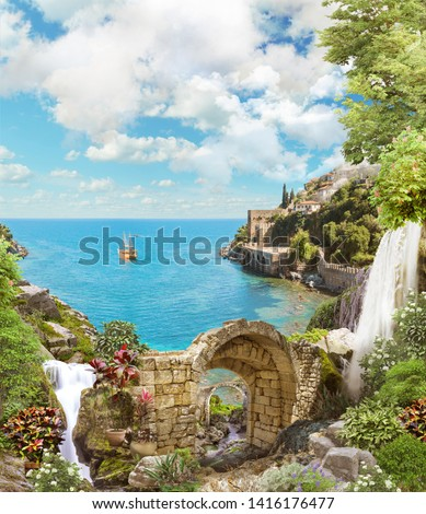 Beautiful views of the mountains and the sea. Flowers of lupine, arch. Digital collage , mural and fresco. Wallpaper. Poster design. Modular panno. #1416176477