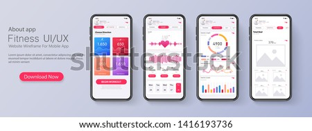 Different UI, UX, GUI screens fitness app and flat web icons for mobile apps, responsive website including. Web design and mobile template. Fitness interface design for mobile application. Vector #1416193736