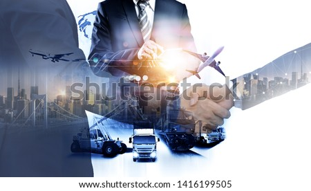Business people shaking hands, success business of Logistics Industrial Container Cargo freight ship for Concept of fast or instant shipping, Online goods orders worldwide #1416199505