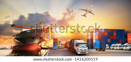 Container truck in ship port for business Logistics and transportation of Container Cargo ship and Cargo plane with working crane bridge in shipyard, logistic import export and transport industry  #1416200519