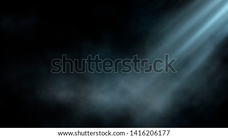 Empty street scene background with abstract spotlights light. Night view of street light reflected on water. Rays through the fog. Smoke, fog, wet asphalt with reflection of lights.  Royalty-Free Stock Photo #1416206177