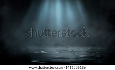 Empty street scene background with abstract spotlights light. Night view of street light reflected on water. Rays through the fog. Smoke, fog, wet asphalt with reflection of lights.  #1416206186