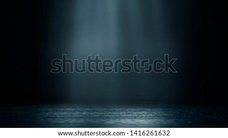 Wet asphalt, reflection of neon lights, a searchlight, smoke. Abstract light in a dark empty street with smoke, smog. Dark background scene of empty street, night view, night city. #1416261632