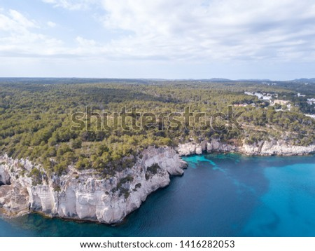 Aerial view of beautiful landscape in Menorca Spain #1416282053