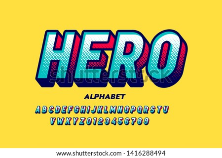 Comics super hero style font, alphabet letters and numbers vector illustration #1416288494
