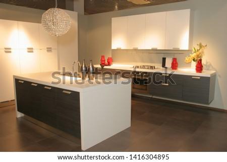 Kitchen furniture. Kitchen. Furniture exhibition. Furniture store #1416304895