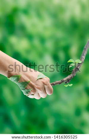 cooperation of man and nature concept #1416305525