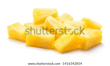 Canned pineapple chunks. Pineapple slices isolated. Pineapple pieces on white background. #1416342854