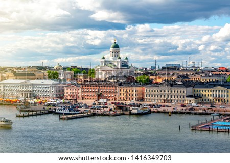 Helsinki cityscape and Helsinki Cathedral, Finland #1416349703
