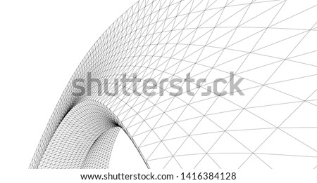 abstract architecture arch 3d illustration  Royalty-Free Stock Photo #1416384128