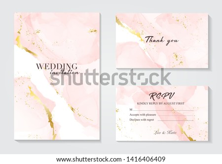 Vector wedding invitation set with liguid fluis background. Rose gold foil marble decoration luxury design. Royalty-Free Stock Photo #1416406409