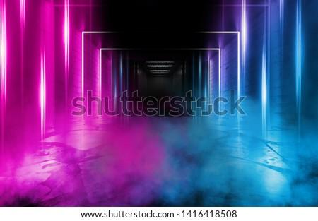 Background of empty space. Open elevator doors. Neon light smoke.