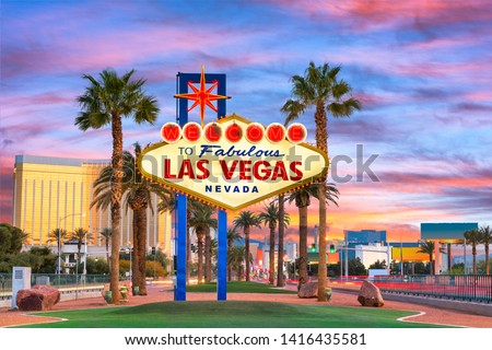 Las Vegas, Nevada, USA at the Welcome to Las Vegas Sign at dusk. #1416435581