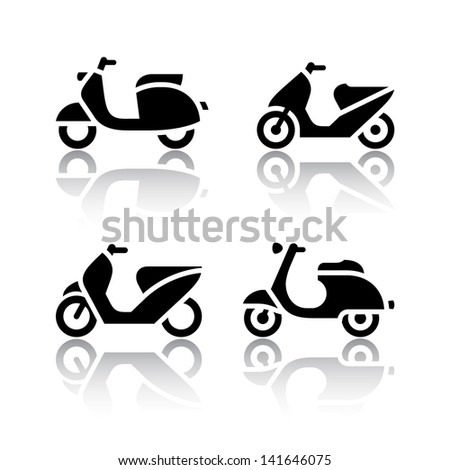Set of transport icons - scooter and moped (copy of the my vector)