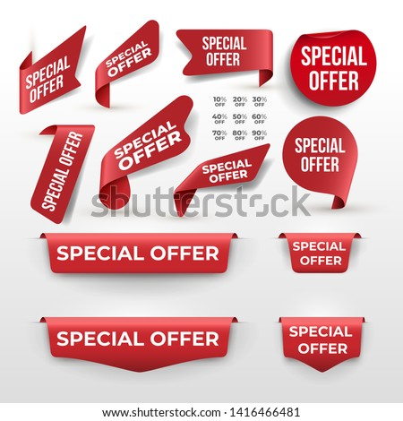 Set of Red ribbon and banner with Special Offer. Discount banner promotion template. Vector illustration. Isolated on white background. #1416466481