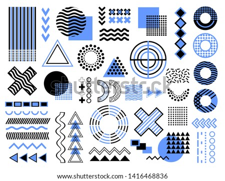 Memphis design elements. Retro funky graphic, 90s trends designs and vintage geometric print illustration element. Constructivism memphis vector isolated symbols collection.  Circles, lines, triangles #1416468836