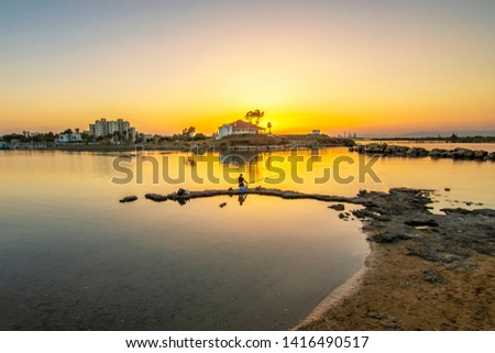 Man is fishing in Gazimagusa Town of Northern Cyprus #1416490517