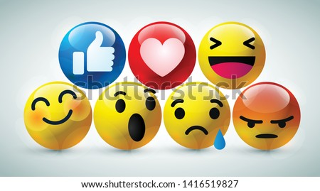 high quality 3d vector round yellow cartoon bubble emoticons for social media Facebook chat comment reactions, icon template face tear, smile, sad, love, like, Lol, laughter emoji character message #1416519827