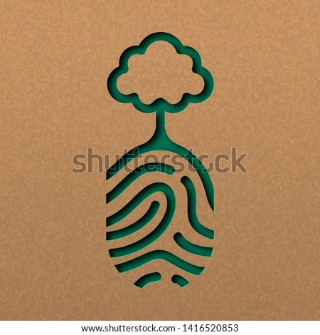 Papercut human finger print with tree. Green fingerprint cutout concept in recycled paper for nature connection. Royalty-Free Stock Photo #1416520853