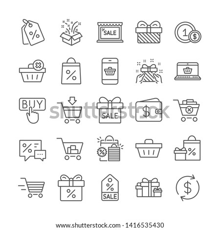 Shopping wallet line icons. Present, Gift box and Sale offer signs. Shopping cart, Delivery gift and Tags symbols. Speech bubble, Discount, sale and wallet. Online buying. Surprise present. Vector #1416535430