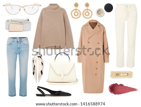 mood board fashion clothes, outfit, clothes collage, set of fashionable clothes and accesories, woman trendy fashion clothes collage on white, flat lay, top view #1416588974