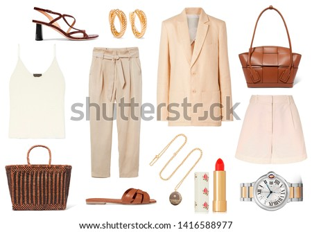 mood board fashion clothes, outfit, clothes collage, set of fashionable clothes and accesories, woman trendy fashion clothes collage on white, flat lay, top view #1416588977