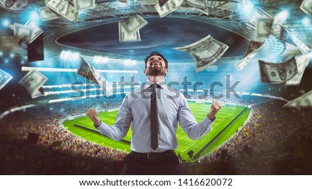 Man who rejoices at the stadium for winning a rich soccer bet #1416620072
