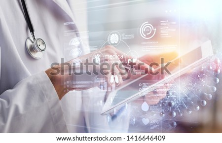 Dctor work on digital tablet healthcare doctor technology tablet using computer #1416646409