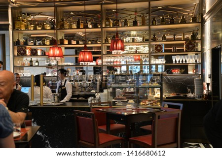 Vienna, Austria – May 25, 2019: Cafe Sacher Wien in Vienna, Austria, Europe #1416680612