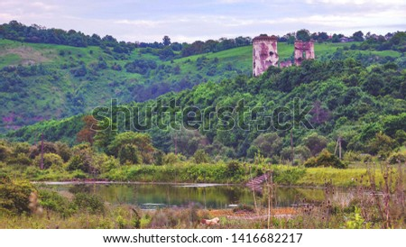 The famous Ukrainian castle near the city Zalischyky on the hill #1416682217
