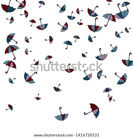 Pretty summer background with umbrellas. Umbrellas In Cartoon Free Style. Pattern Art Illustration Vector  #1416728333