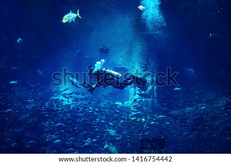 Man diver diving in blue mystic background with fishes