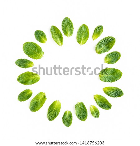 Wreath frame made of mint leaves isolated on white background. Set of peppermint. Mint Pattern. Flat lay. Top view. #1416756203