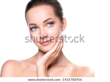 Woman beauty face healthy skin natural makeup beautiful young model #1416786956