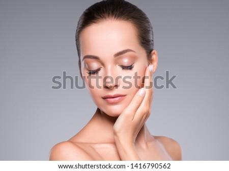 Woman beauty face healthy skin natural makeup beautiful young model #1416790562