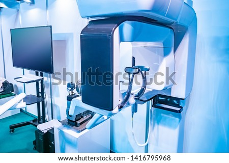 Dental digital tomography. X-ray teeth. Creating a panoramic picture of the teeth. Professional dental diagnostics. Cephalometric scan. Orthopantomography. #1416795968
