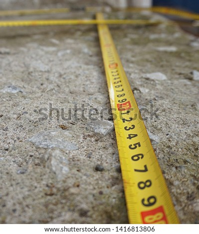 Measure with tape measure, tape measure,                             #1416813806