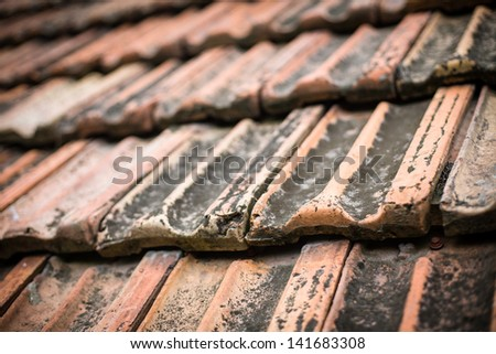 Background of old roof tiles #141683308