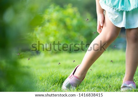 Little girl has allergies with mosquitoes bite and itching her leg.Mosquito blood breeding on kids.Repellent, Dengue virus, Yellow fever, West nile, Malaria, Diseases Spread by Mosquitoes concept. #1416838415