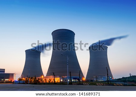 tops of cooling towers of atomic power plant #141689371