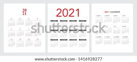 Simple calendar Layout for 2021 years. Week starts from Sunday. Royalty-Free Stock Photo #1416928277