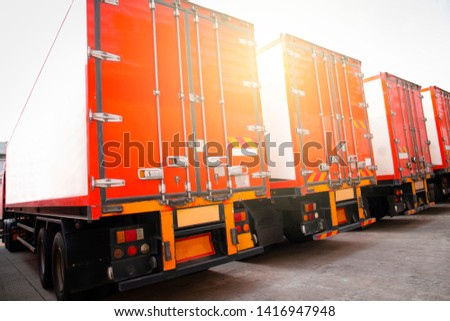 truck container, semi truck trailer modern parking at warehouse, freight industry logistics transport. #1416947948