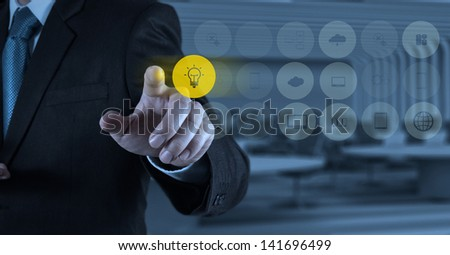 businessman hand working with new modern computer and business strategy as concept #141696499